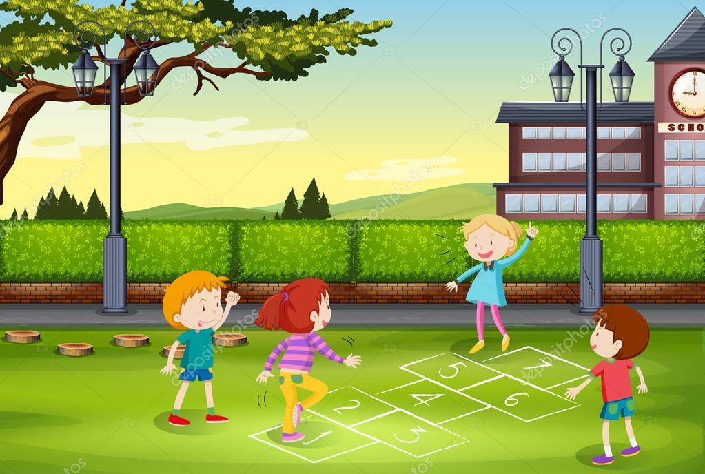 ni u00f1os jugando rayuela en el parque vector de stock clipart children playing sign clipart children playing in summer