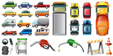 Different kind of automotives and petrol illustration stock vector