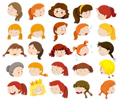 Different faces of women and girls