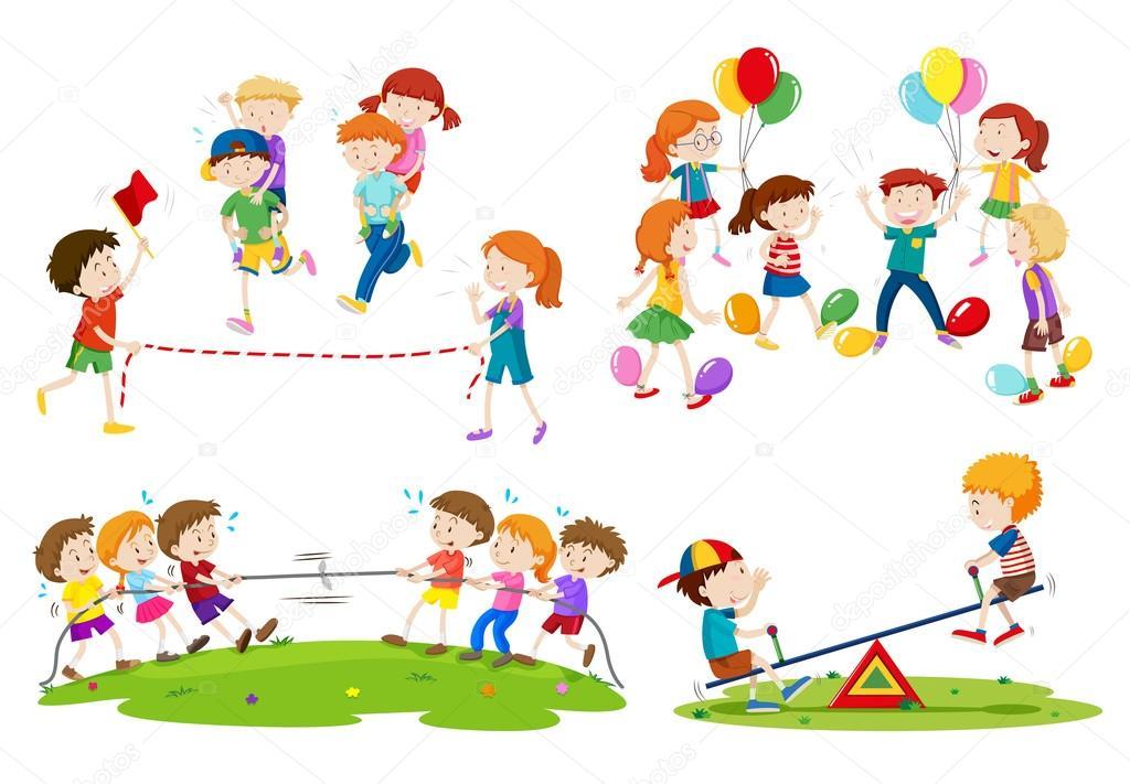 Imagenes Juegos De Ninos Ninos Jugando Juegos Diferentes Vector