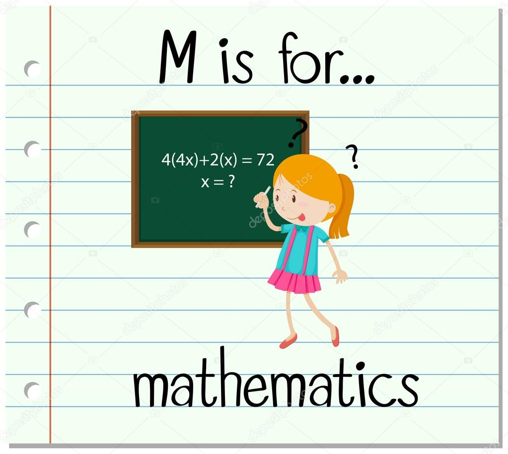 Flashcard letter M is for mathematics — Stock Vector
