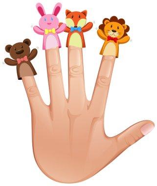 Four finger puppets on human hand illustration clip art vector