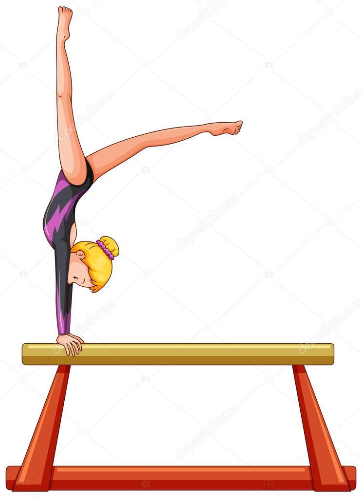 Atleta mujer en barra de equilibrio vector de stock for Disegni della barra del garage
