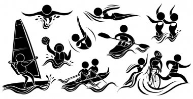 Silhouette icons for many sports