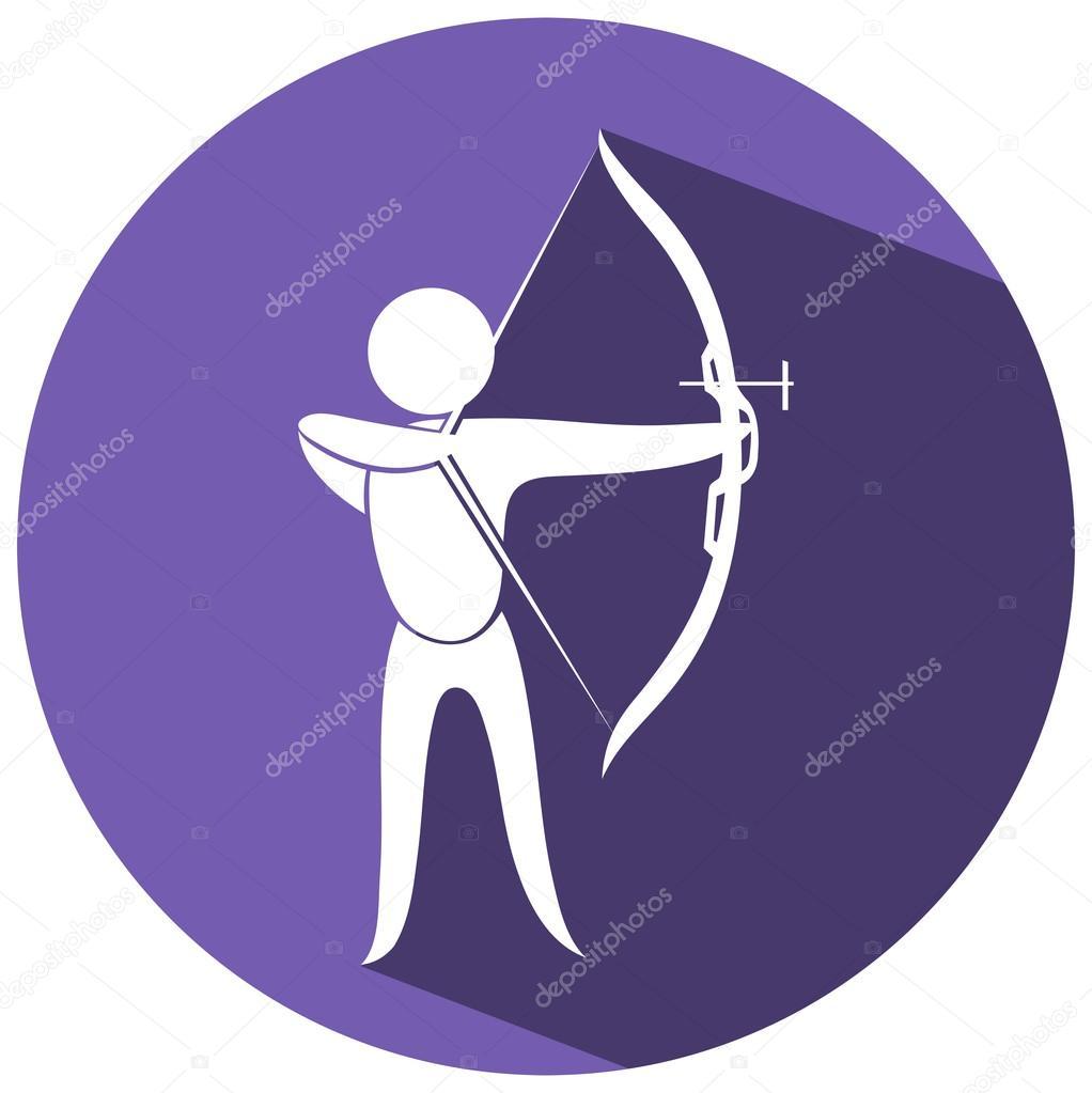 Sport Icon Design Für Bogenschießen Auf Runde Abzeichen