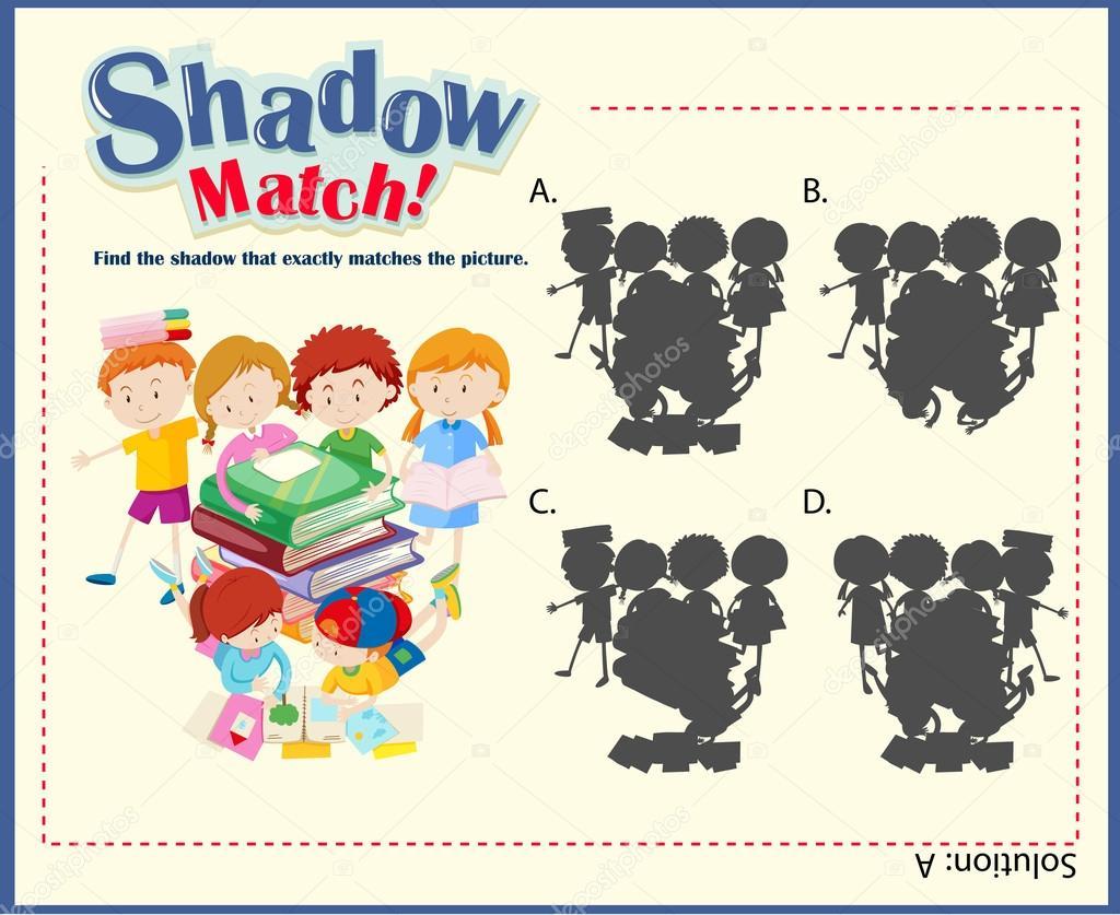 Plantilla de juego con la sombra que los niños — Vector de stock ...