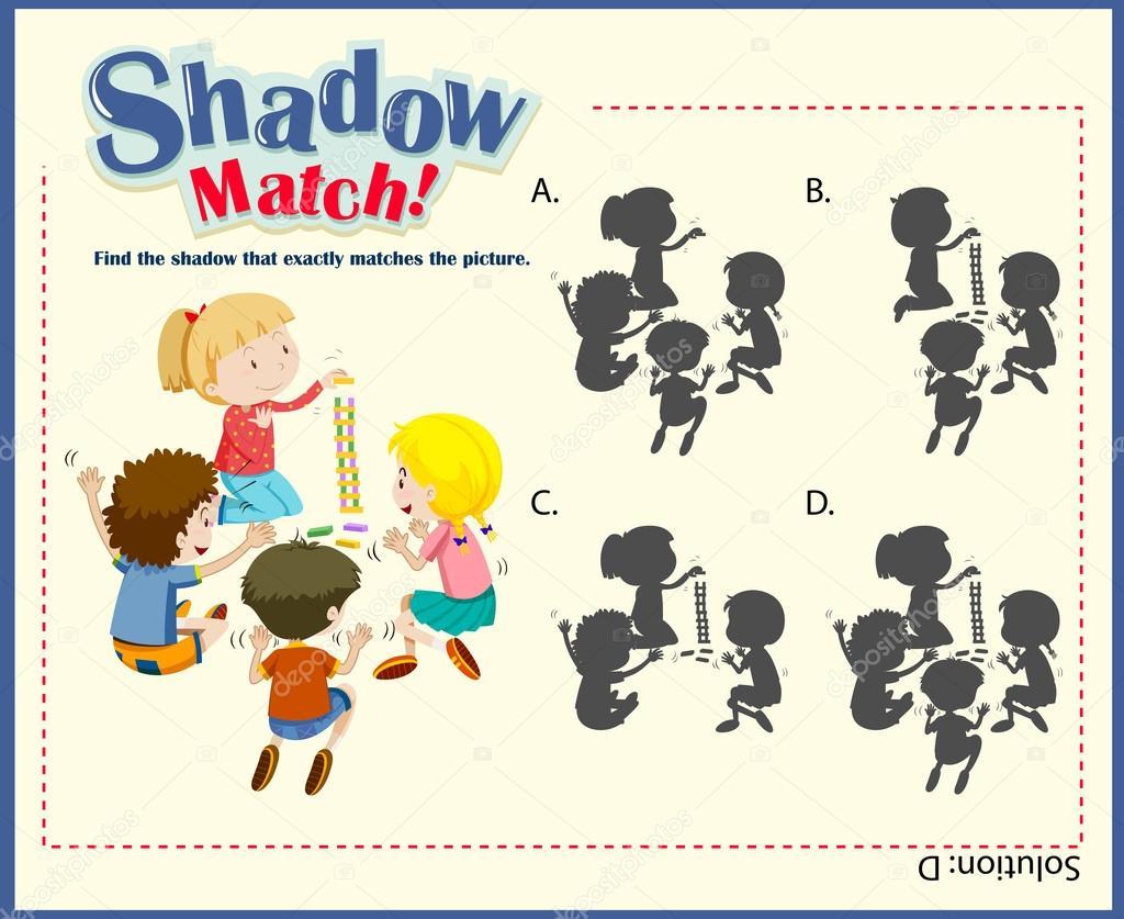 Spiel-Vorlage für Kinder passende Schatten — Stockvektor ...