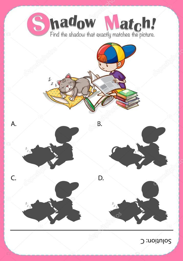 Spiel-Vorlage mit Schatten passende junge und Katze — Stockvektor ...