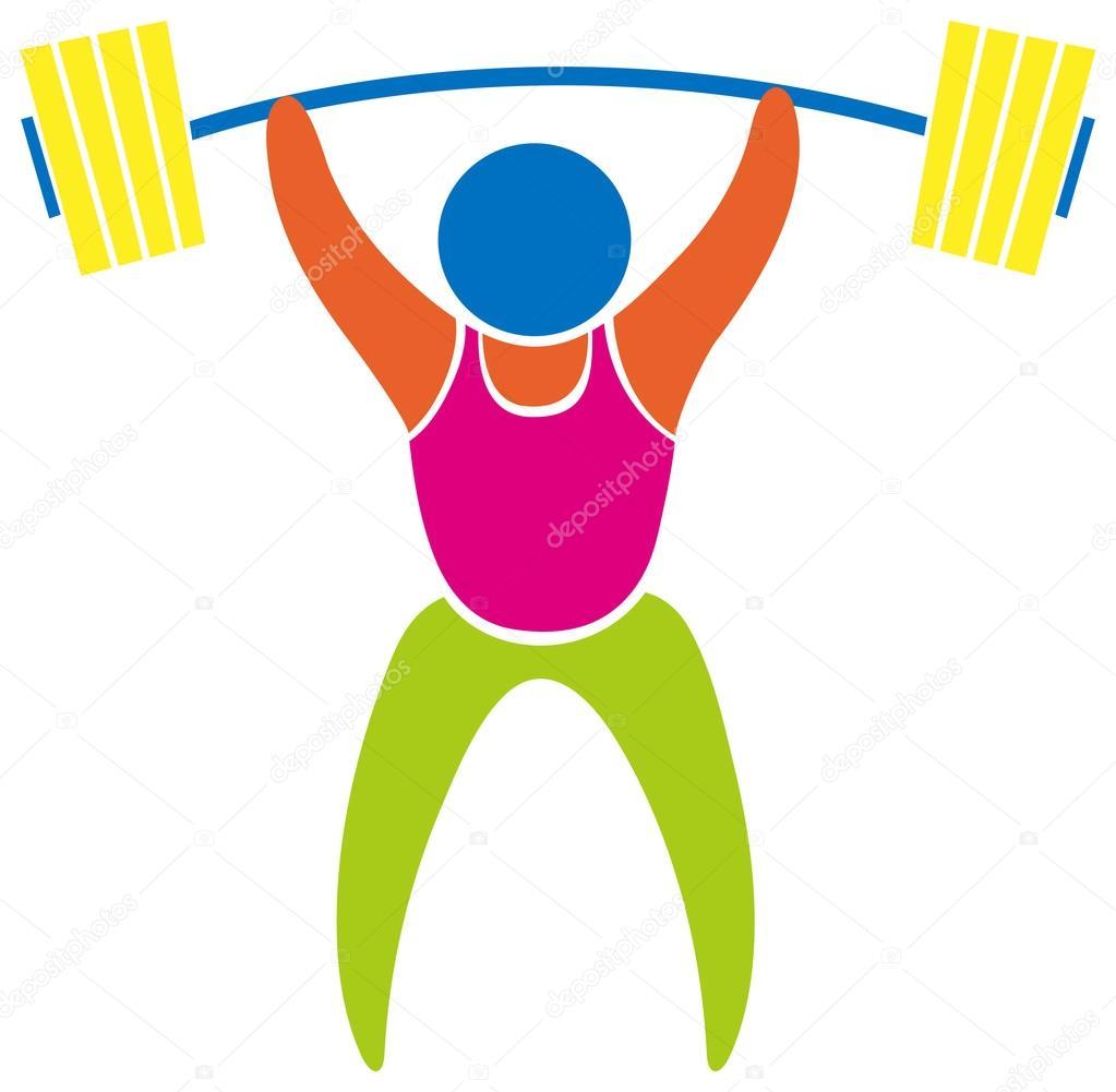 Icône du sport couleur haltérophilie — Image vectorielle