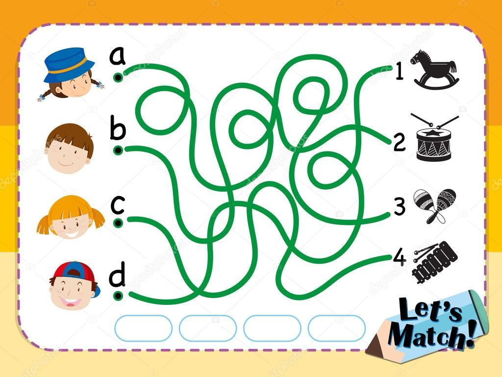 Plantilla de juego para que los niños y juguetes — Vector de stock ...