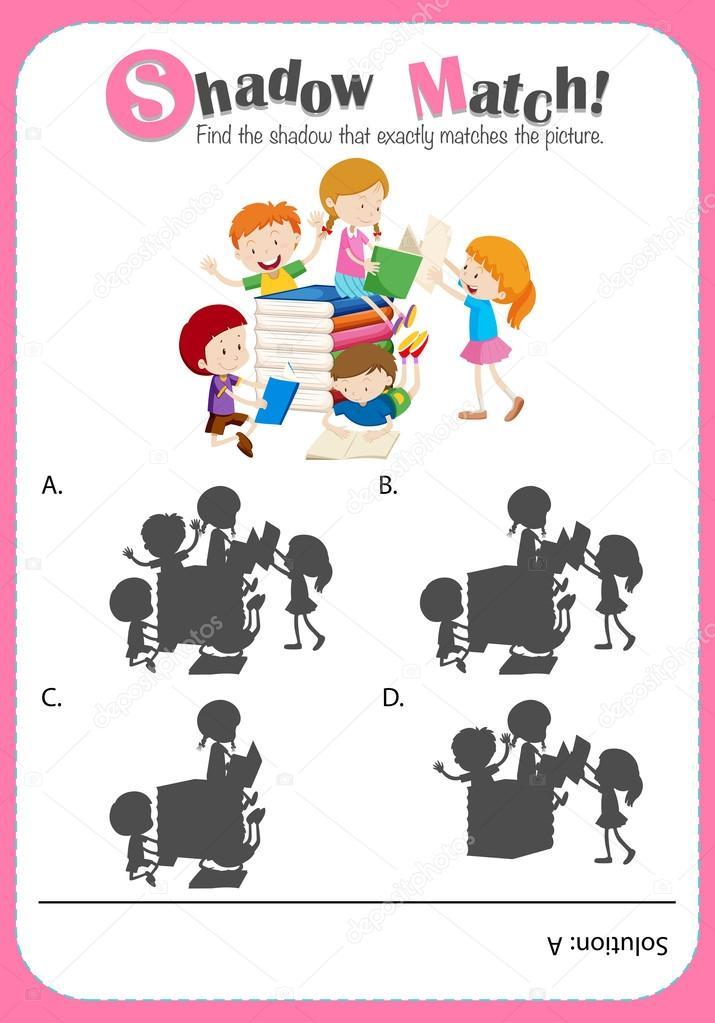 Spiel-Vorlage mit Schatten passenden Kinder lesen — Stockvektor ...