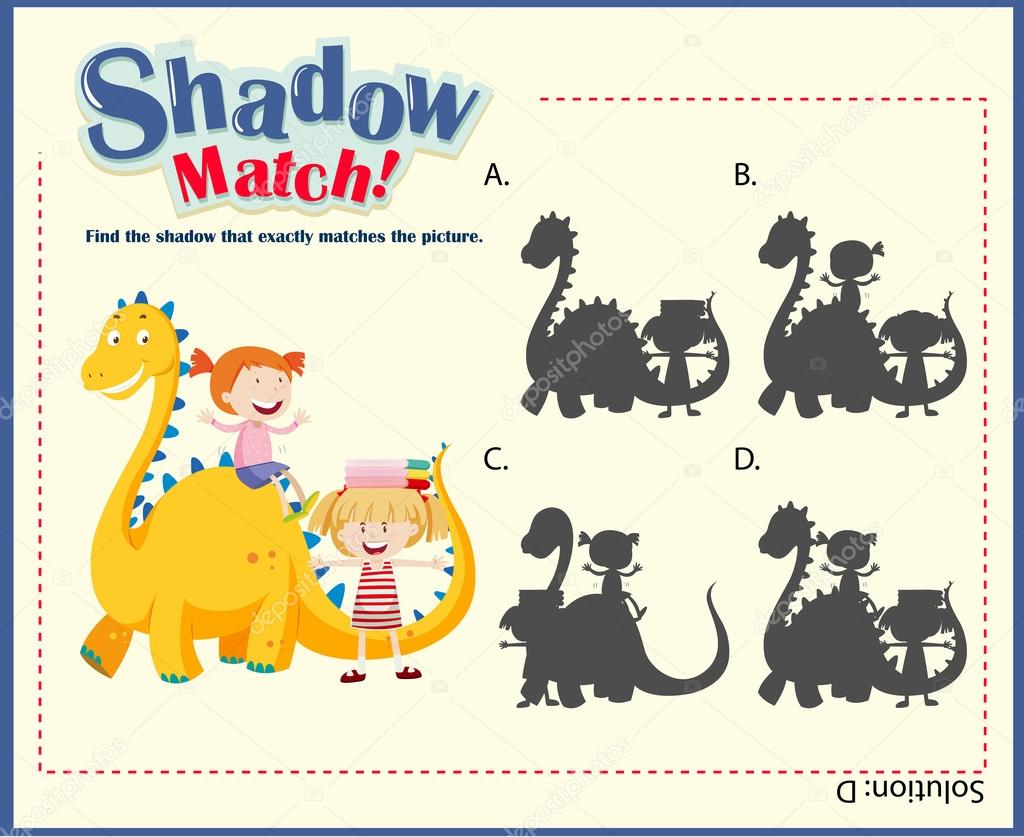 Schatten passende Spiel Vorlage mit Kindern und Drachen ...