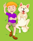 Boy and pet dog in the park