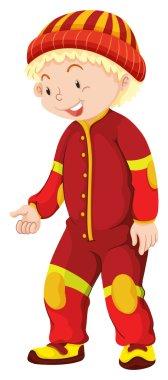 Little boy in red jumpsuit