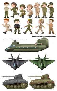 Soldiers and different kinds of transportations