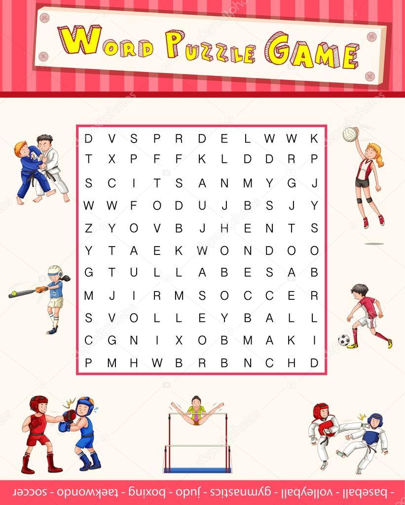 Modèle de jeu avec puzzle mot sur le sport image