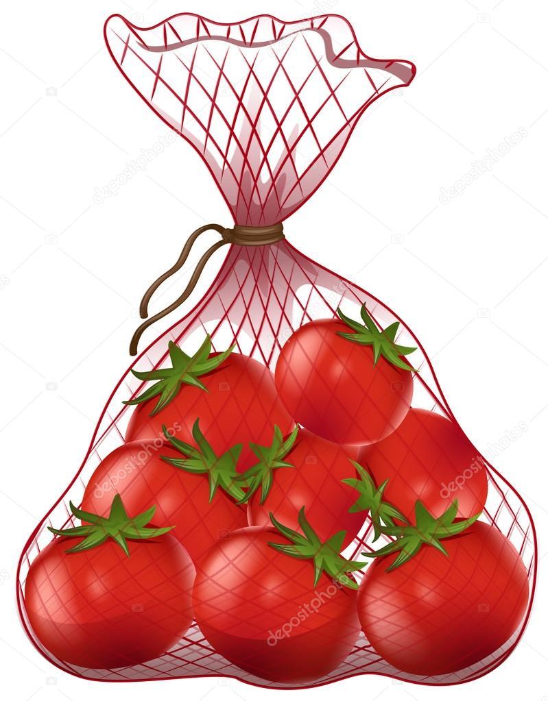 Tomates frescos en el bolso neto — Vector de stock © blueringmedia ...