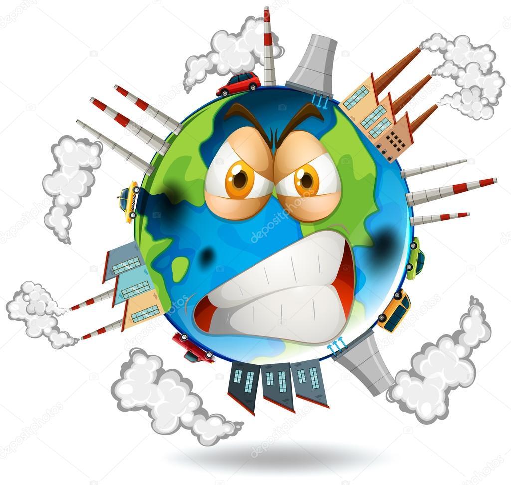 Usine Crée La Pollution Sur La Terre Image Vectorielle