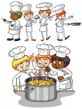 Set of chef cooking