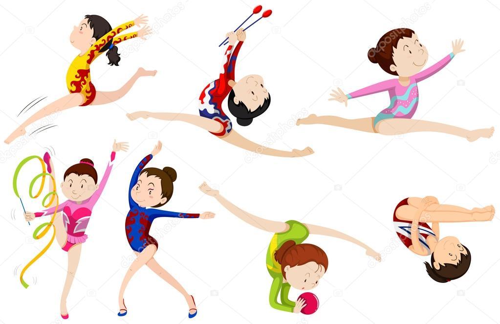 diferentes tipos de gimnasia vector de stock