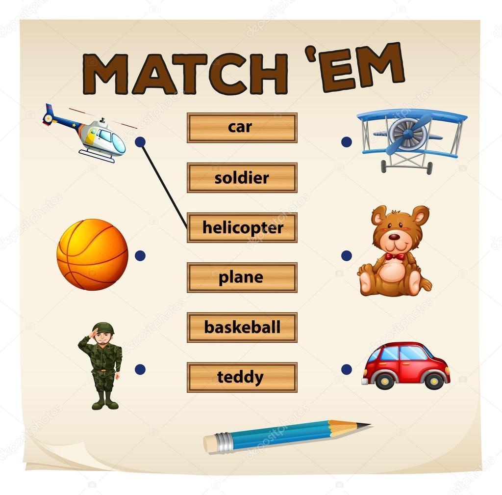 Passende Objekte im Spiel und Worte — Stockvektor © blueringmedia ...