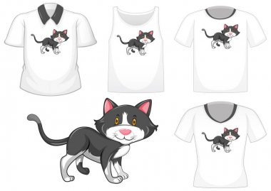 Cat cartoon character with set of different shirts isolated on white background illustration icon
