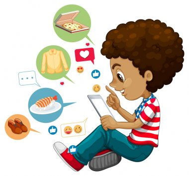 Children with social media elements on white background illustration icon