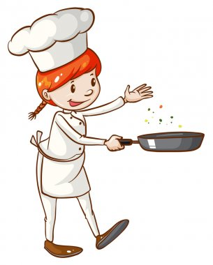 A simple sketch of a female chef