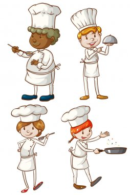 Male and female chefs