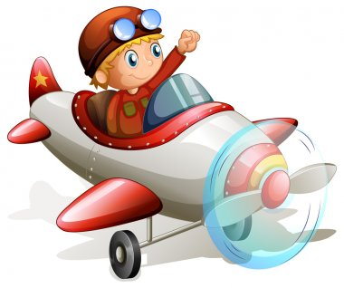 Illustration of a vintage plane with a pilot on a white background stock vector