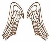 Fényképek egy egyszerű vázlat egy angyal szárnyak