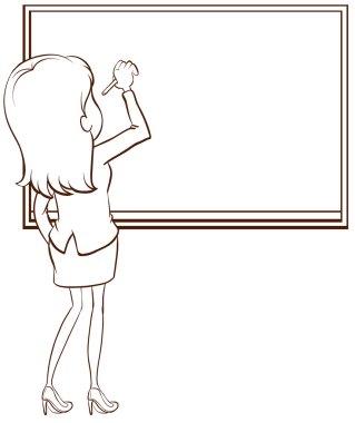 A simple sketch of a teacher writing
