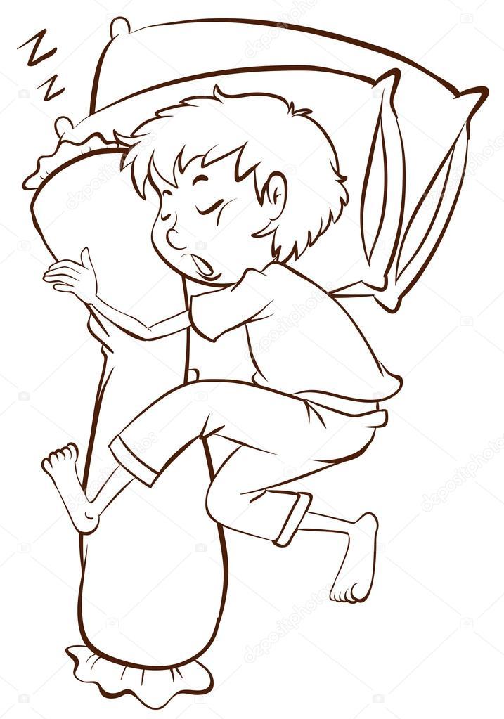 Imágenes Niño Durmiendo Para Colorear Un Simple Dibujo De Un Niño
