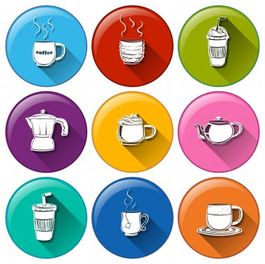 Round icons with coffee and tea