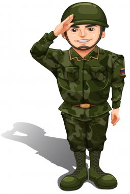 A smiling soldier doing a hand salute
