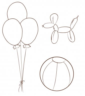 Simple sketches of the balloons and a ball