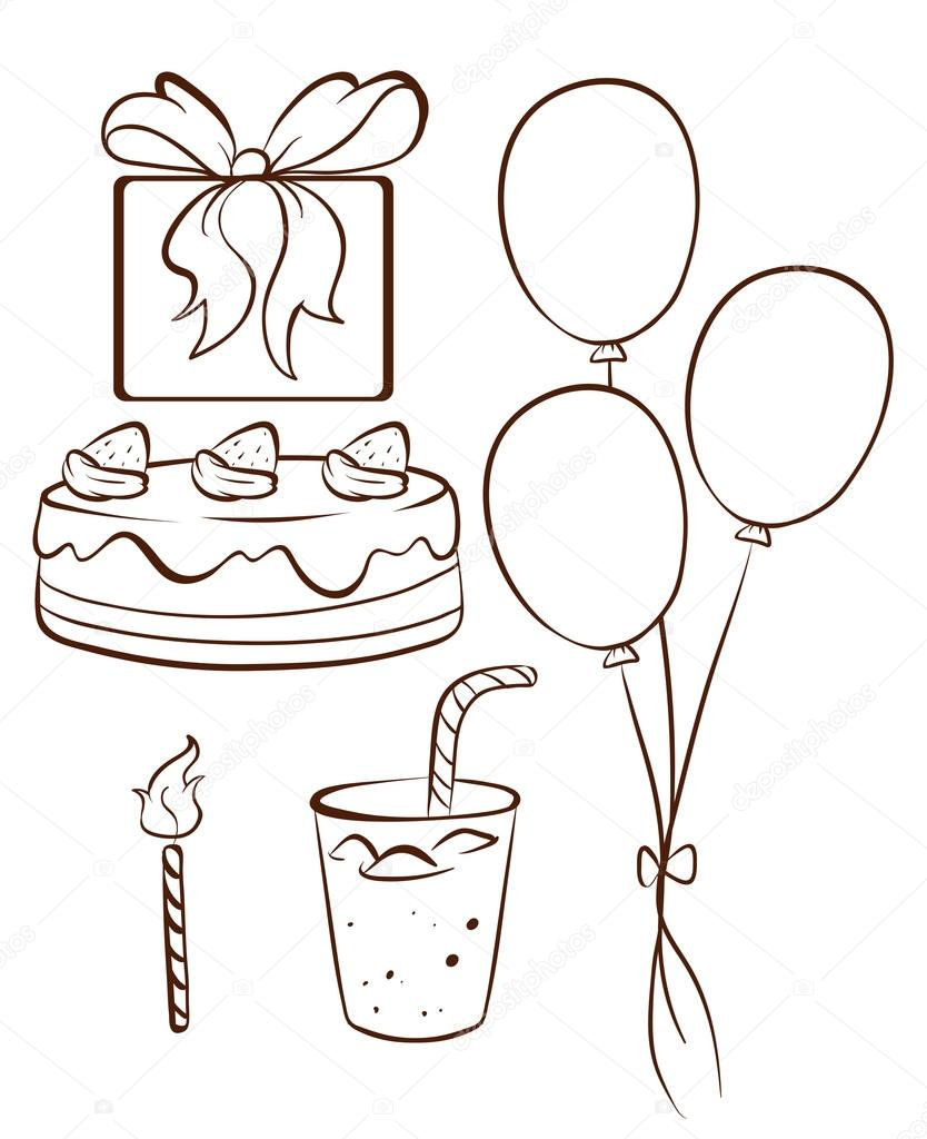 Famoso un semplice disegno di una festa di compleanno — Vettoriali Stock  YI49