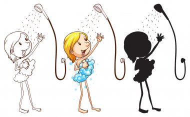 Sketch of a girl taking shower