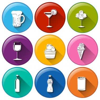 Illustration of the round icons with the different refreshing drinks on a white background clip art vector