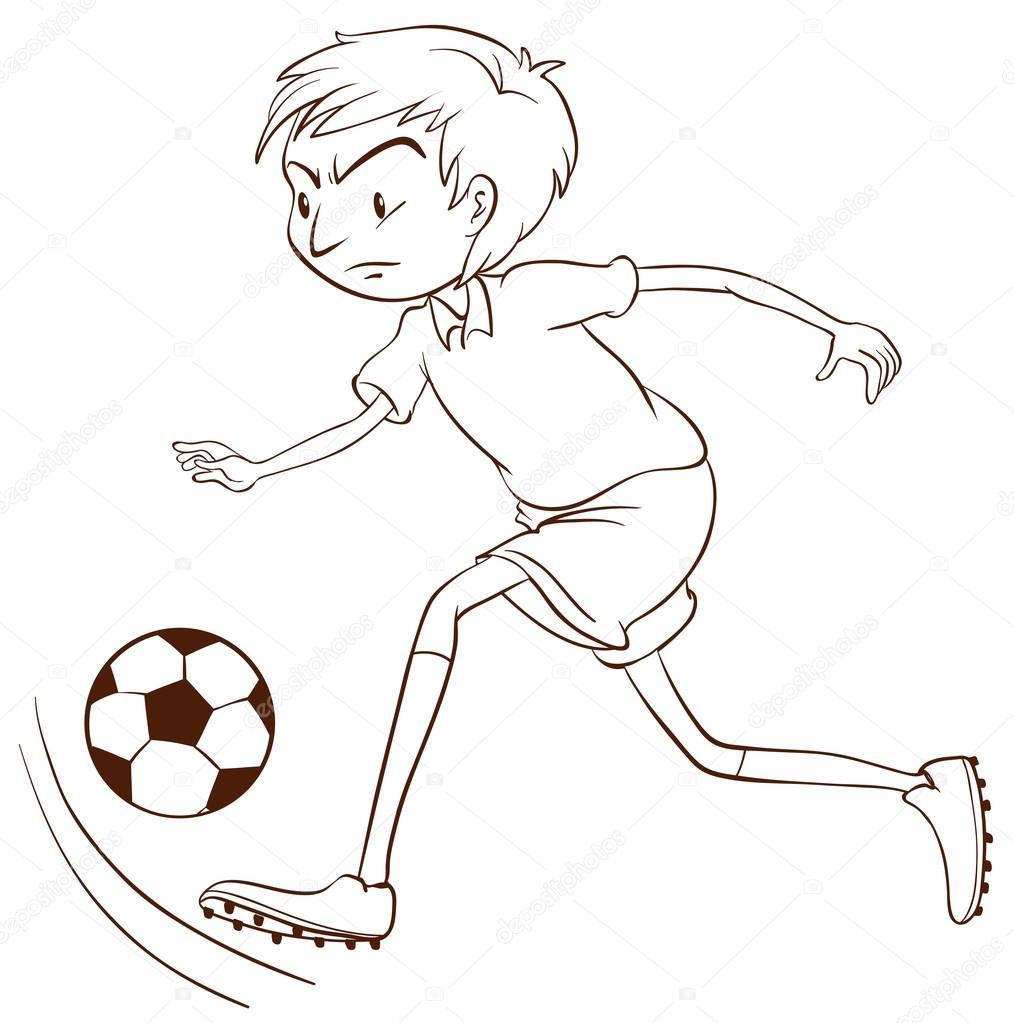 un simple boceto de un jugador de fútbol — Archivo Imágenes ...