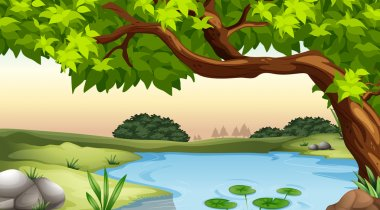 Illustration of a tree and a pond stock vector