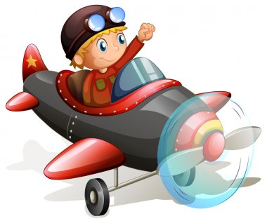 Illustration of a vintage plane with a young pilot on a white background stock vector