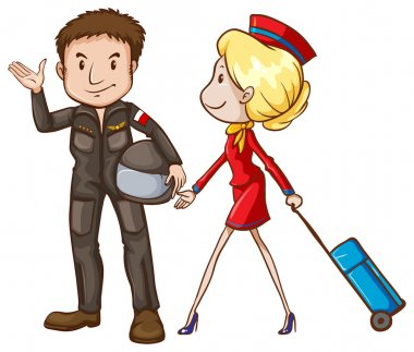 A simple sketch of a pilot and a stewardess