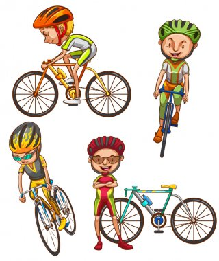 A coloured sketch of the cyclists