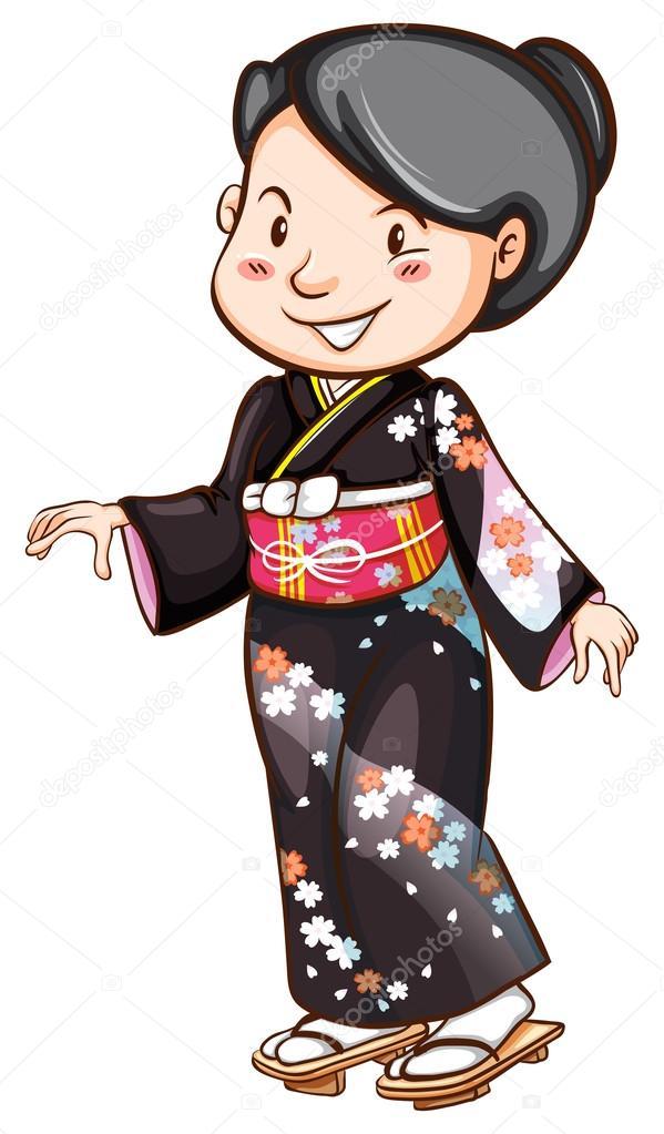 Un Dessin Simple D Une Robe Asiatique Image Vectorielle