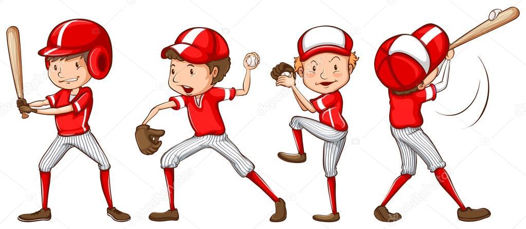 Eine Skizze der Baseball-Spieler rote Uniform — Stockvektor ...