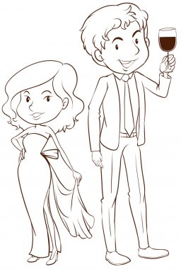 A plain sketch of a boy and a girl in their formal attires