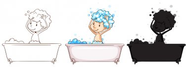Sketches of a boy taking a bath