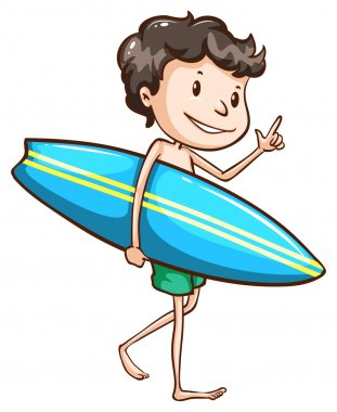 A simple drawing of a boy going to the beach with a surfing boar
