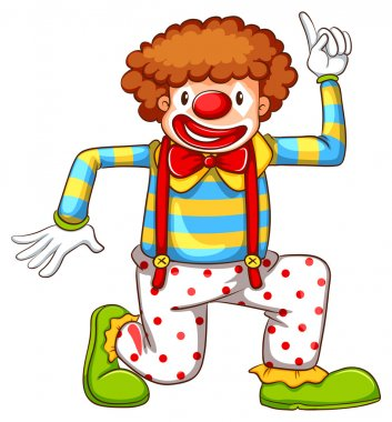 A drawing of a clown dancing